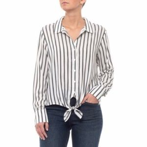 Anthropologie Cloth and Stone Grey Striped Blouse
